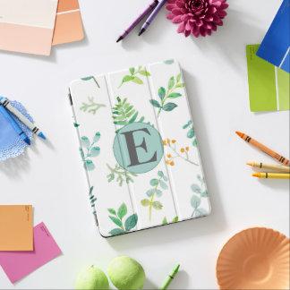 Custom Green Leaves White Monogram iPad Pro Cover