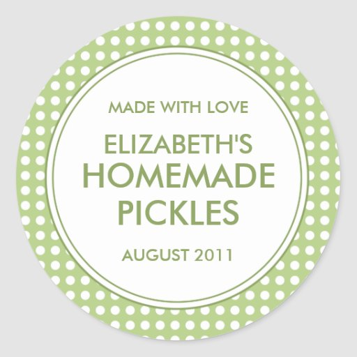 Custom Green Polka Dot Canning Stickers / Labels