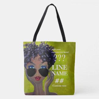 Custom Green Sorority Black Art Tote Bag