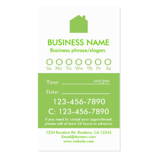 Custom green white real estate appointment cards business cards