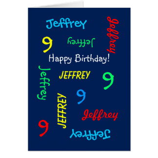Custom Greeting Card Any Name, Age, Event Blue 9th