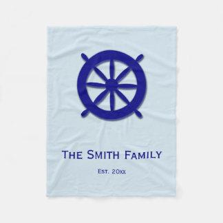 Custom Grey and Blue Nautical Ship's Wheel Blanket