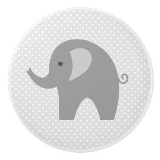 Custom grey elephant nursery door and drawer knobs