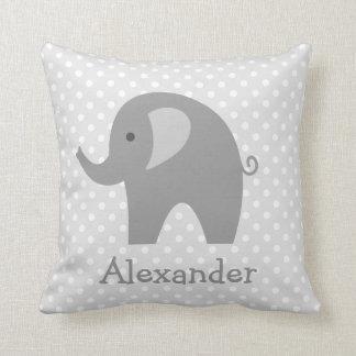 Custom grey elephant throw pillow for nursery room cushion