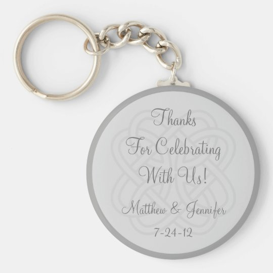 Custom Grey Keychain Wedding Favour Keepsake Gift