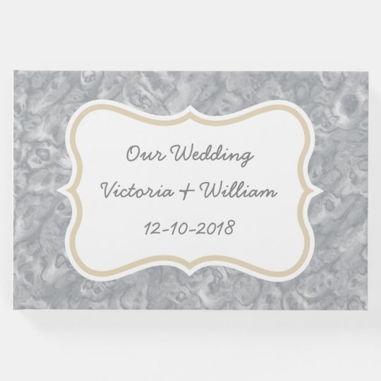 Custom Grey Marble Wedding Guest Book Gift