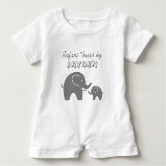 Custom grey safari elephant baby romper for kids baby bodysuit