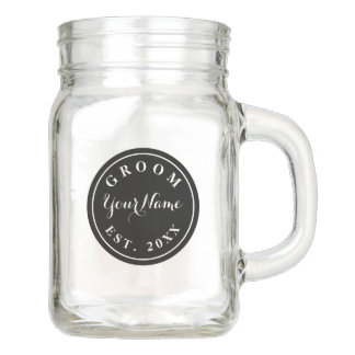 Custom groom wedding mason jar handle mug