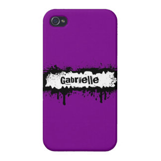Custom Grunge Name on Purple Background Covers For iPhone 4