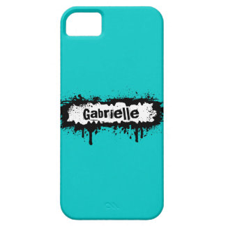 Custom Grunge Name on Teal Background iPhone 5 Cover