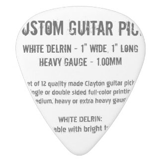 Custom Guitar Pick - Delrin, Heavy Gauge 1.00mm White Delrin Guitar Pick