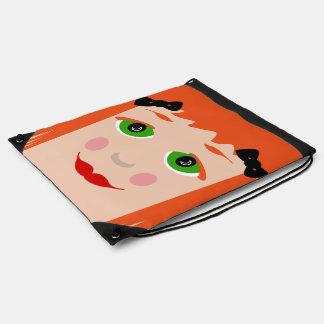 Custom Hair Color Big Eyes Cartoon Girl Bag Rucksack