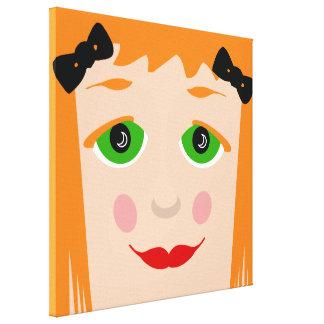 Custom Hair Color Big Eyes Cartoon Girl Canvas Stretched Canvas Print