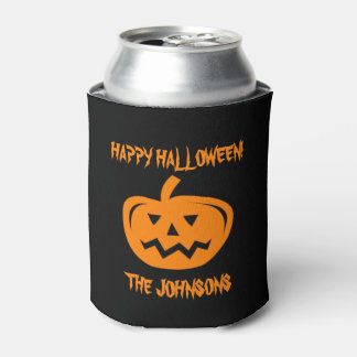 Custom Halloween party pumpkin carving can coolers