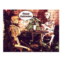 Custom Halloween Skeletons Partying  Card Post Cards