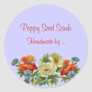 Custom Handmade Soap Poppy and Cornflowers Sticker