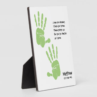 Custom handprint art from child with name, poem ph plaque