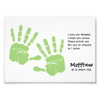 Custom handprint art from child with name, poem photograph