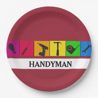 Custom Handyman Colored Repair Carpenter Tools 9 Inch Paper Plate