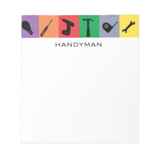 Custom Handyman Cute Drill Hammer Toolbox Tools Notepad
