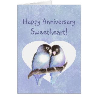 Custom Happy Anniversary Sweetheart Blue Lovebirds Card