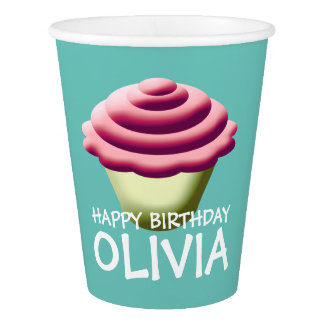 Custom Happy Birthday Cupcake Design Paper Cup