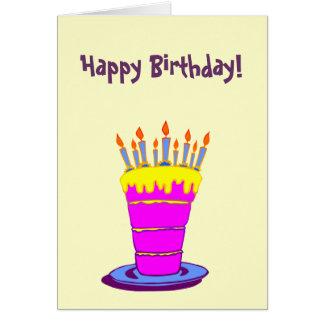 Custom Happy Birthday Giant Pink Cake Card