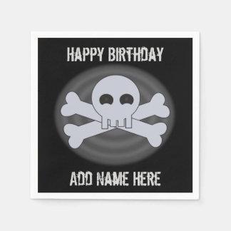 Custom Happy Birthday Skull Napkins Paper Napkins
