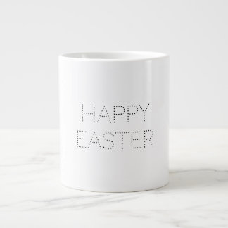 Custom Happy Easter Typography Minimalist Dots Large Coffee Mug