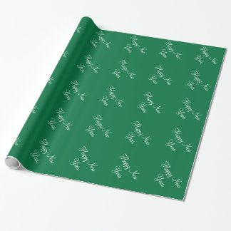 Custom Happy New Year Dartmouth Green Background Wrapping Paper