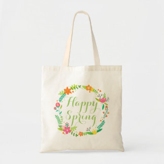 Custom Happy Spring Flowers Leaves Wreath Tote Bag