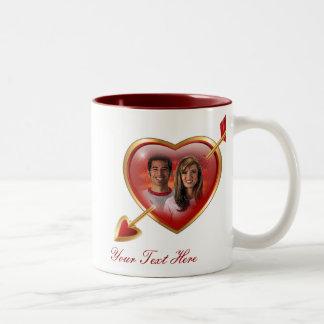 Custom Heart & Arrow Photo Frame Two-Tone Mug