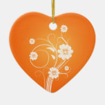 Custom Heart Ornaments White Flowers On Orange