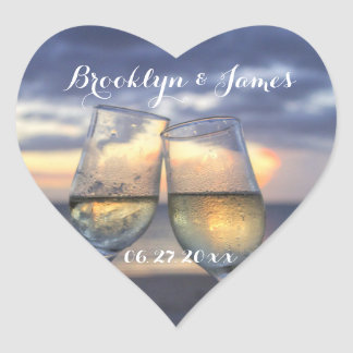 Custom Heart Sunset On The Beach Wedding Stickers
