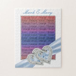Custom Hearts Ice Blue Ribbon Puzzle