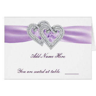 Custom Hearts Lavender Ribbon Place Card Note Card
