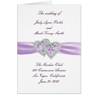 Custom Hearts Lavender Ribbon Program Card