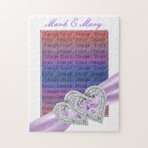 Custom Hearts Lavender Ribbon Puzzle