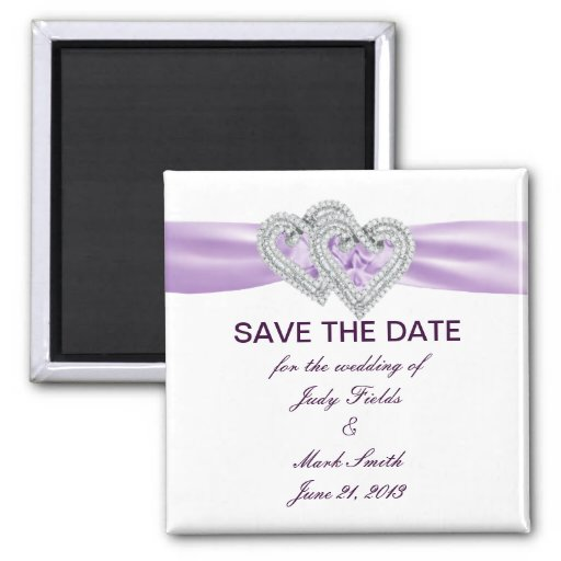 Custom Hearts Lavender Ribbon Save The Date Magnet