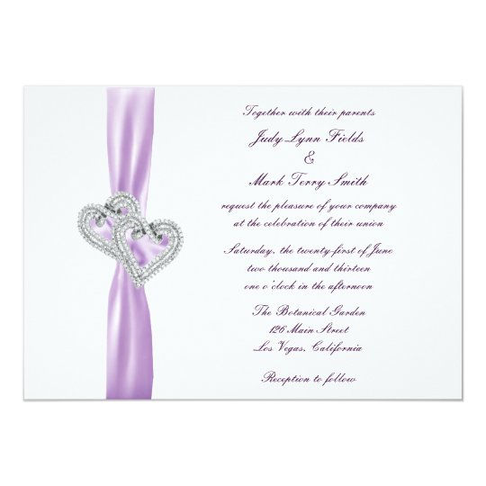 Custom Hearts Lavender Ribbon Wedding Invitation