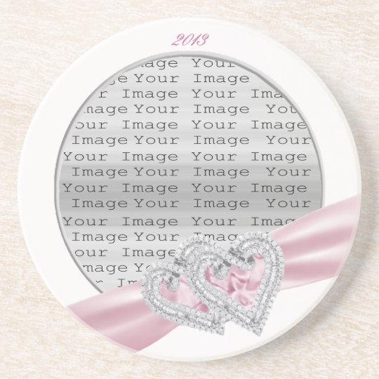 Custom Hearts Pastel Pink Ribbon Coaster