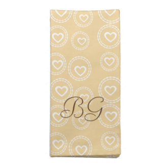 Custom Hearts Pattern Yellow Beige Add Initials Napkin