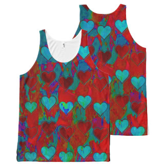 Custom Hearts Print All-Over Women's Tank