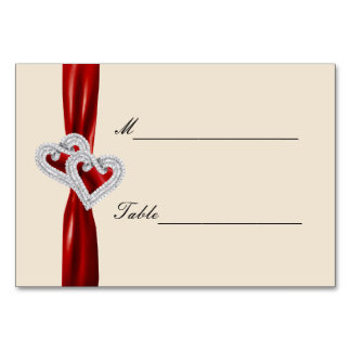 Custom Hearts Red Ribbon Place Card Table Card