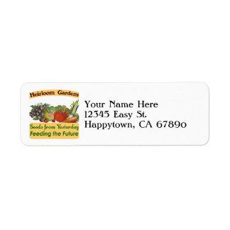 Custom Heirloom Gardens Return Address Labels