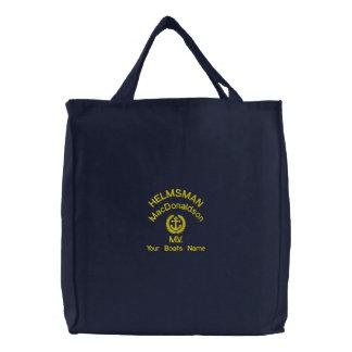 Custom helmsman sailors anchor embroidered tote bag