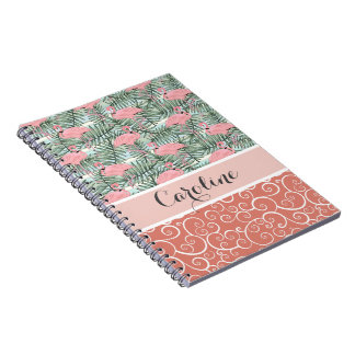 Custom Hip Pink Flamingoes Cute Palm Leafs Pattern Notebooks
