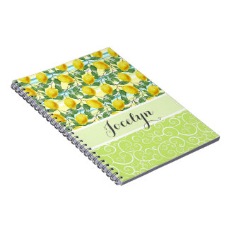 Custom Hip Tropical Summer Lemons Fruit Pattern Spiral Notebook