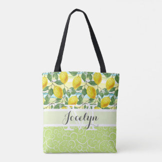 Custom Hip Tropical Summer Lemons Fruit Pattern Tote Bag