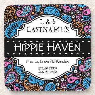 Custom Hippie Hangout Home Bar Coasters